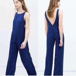 Blue Trafaluc Cut Away Sides Dark Blue Jumpsuit